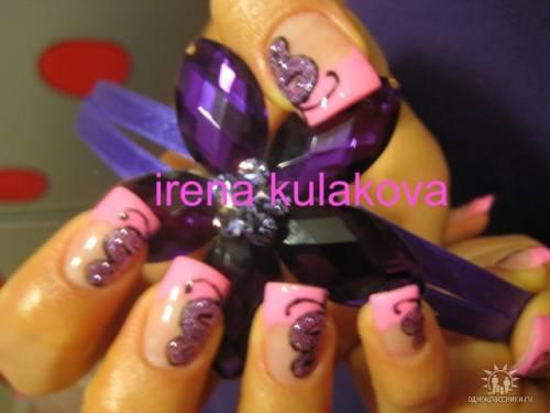 Ярко розовый френч дизайн бабочки